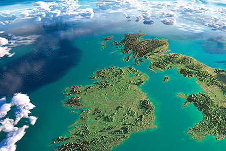 A detailed picture of the island of Ireland from the sky.
