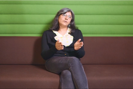 Photograph of Arti Prashar speaking during her interview