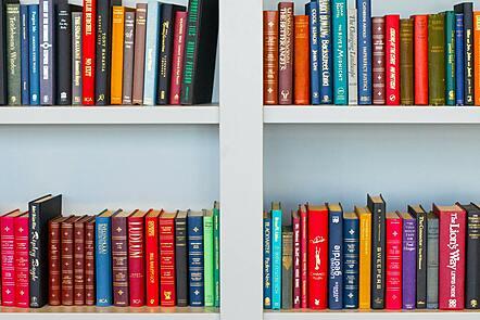 Rows of books on bookshelf.