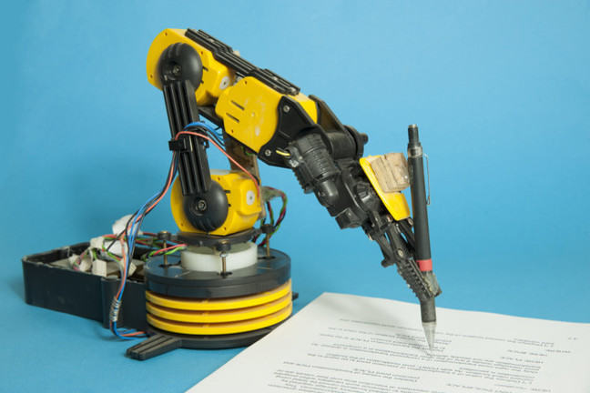 Robot arm writing a report with a pen