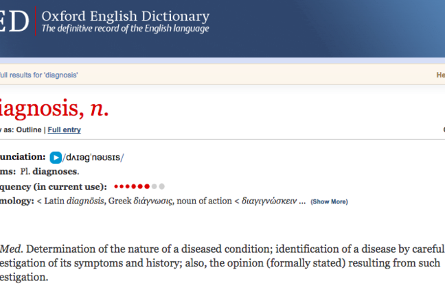 A screenshot of the OED open on 'diagnosis'