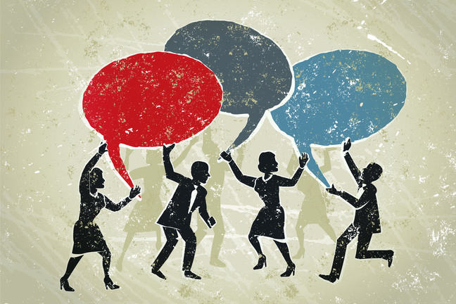 A group of people hold up speech bubbles, representing the back and forth of a dialogue. Illustration.