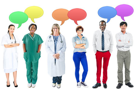 Group of people with speech bubbles above them