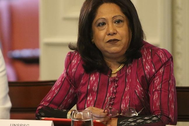 Portrait of the Special Representative Pramila Patten attending a conference