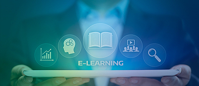 E-learning symbols coming out of a tablet