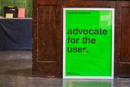 A poster saying 'advocate for the user'