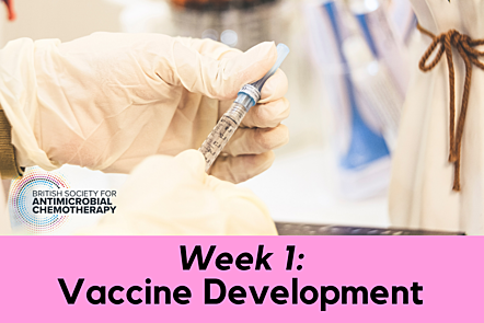"""Gloved hands holding a vial with an overlay text of """"Week 1: Vaccine Development"""""""