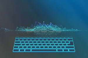 An abstract image of neon blue keyboard on a dark blue background with multiple lines connecting above it.