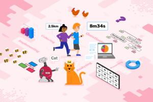 """A image representing aspects of the course, including a table of numbers, charts, runners wearing smartwatches, a representation of a branching database, and a robot pointing to a cat which is labelled """"Cat"""""""