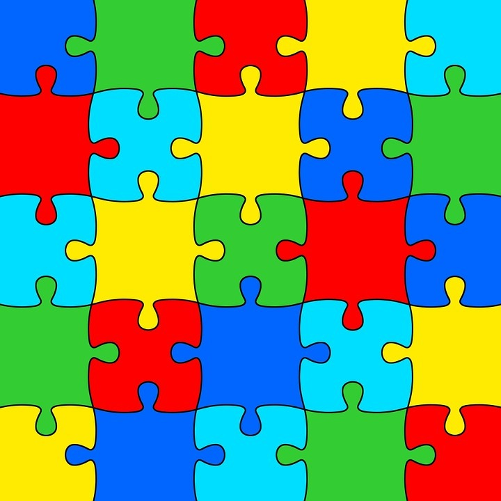 Multi-coloured jigsaw puzzle