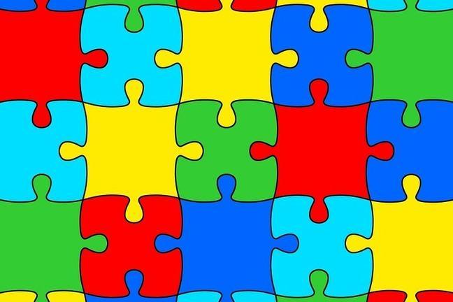 Multi-coloured jigsaw puzzle