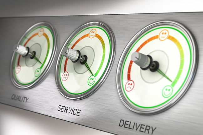 Quality, Service and Delivery dials