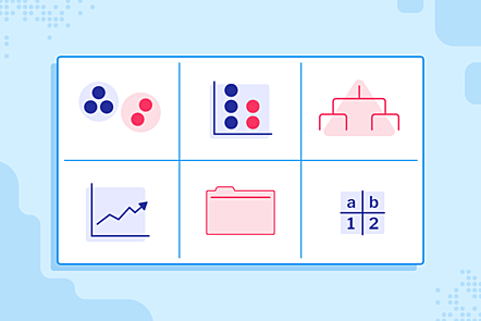 An image with symbols representing the 6 'Data and information' units in the primary Teach Computing Curriculum.