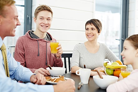 Family eating a health breakfast together