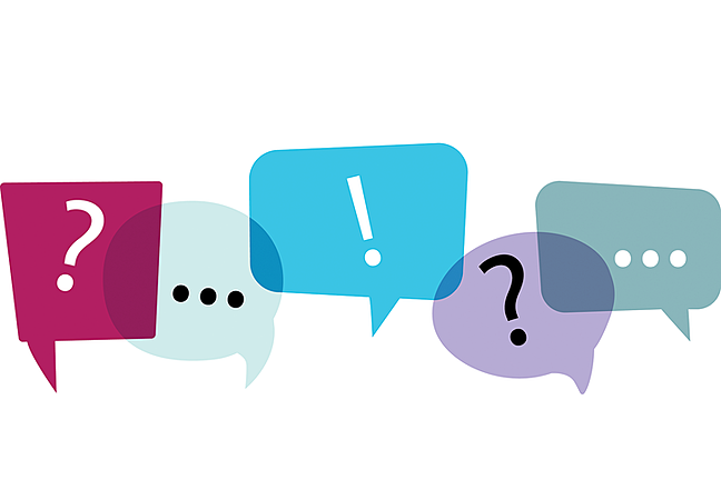 Speech bubbles containing question marks and exclamation points.