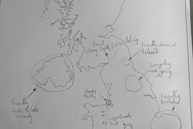 A UK map which someone has labelled to show where dialects are spoken, with some descriptive words about speakers of each dialect.