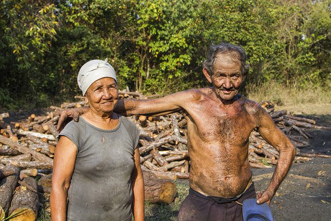 elderly man and woman as a couple standing in front of a wood pile