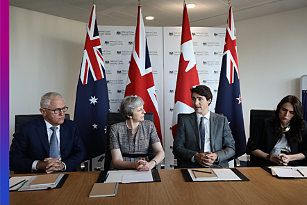 World leaders attend a meeting at the National Cyber Security Centre in 2019, London, England.