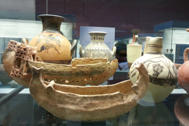 Bronze Age Cypriot boat models and ceramics some with images of boats