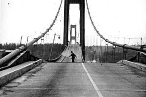 A photo of the Tacoma Narrows Bridge collapsing