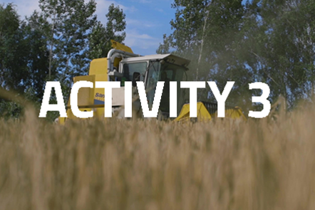 Harvesting machinery with crops in the foreground. 'Activity 3' written over the top.