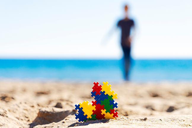 puzzle on beach