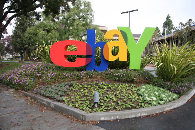ebay logo in a garden