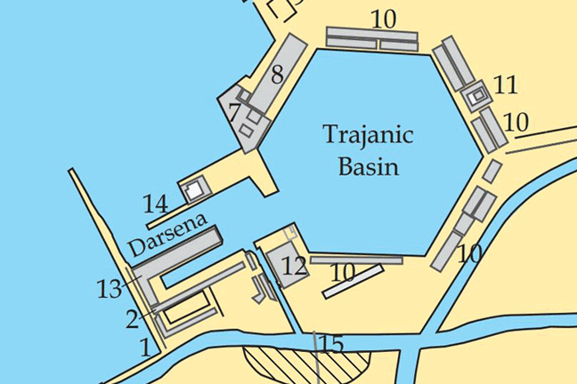 A plan of the buildings around the Trajanic basin