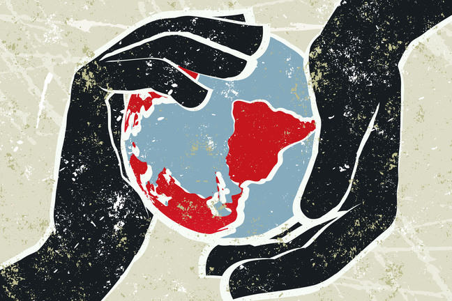 A globe of the world is held between two hands. Illustration.