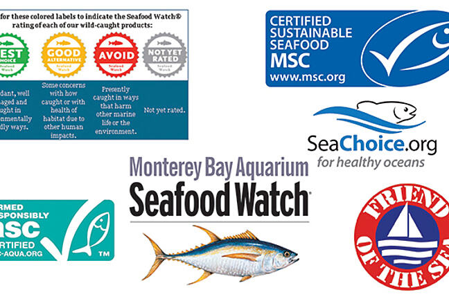 A collection of logos for sustainable seafood
