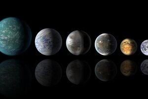 The earth with a horizontal line of moons