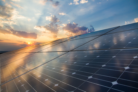 Photovoltaic cells on a sunset