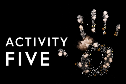 A handprint with the text stating activity 5