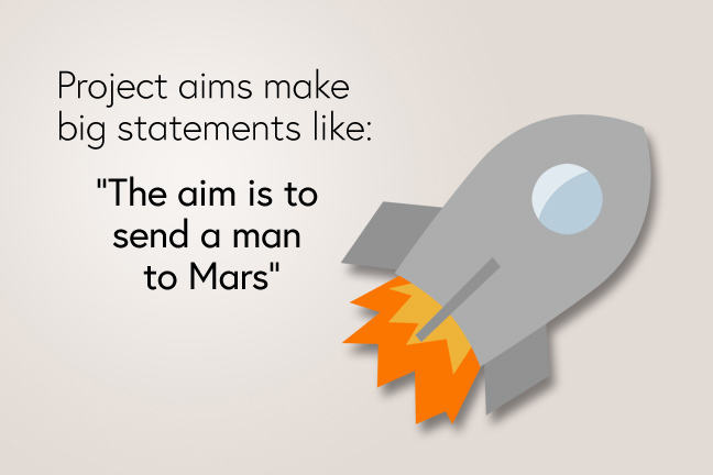 "Aims make big statements like ""The aim is to send a man to Mars"""