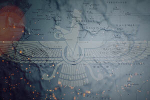 Image of the Zoroastrian fravohar against the background of a map of the ancient Persianate world