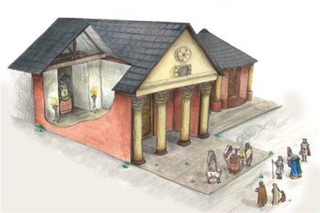 Drawn visualisation of a Roman temple.