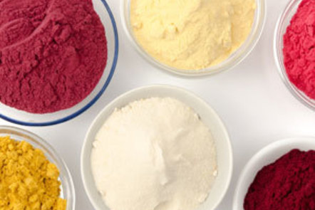 An assortment of fruit powders