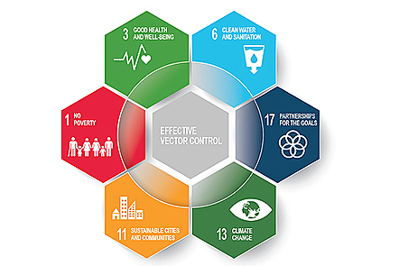 This image depicts the WHO sustainable development goals which are linked to effective vector control. These are ''no poverty', ''good health & wellbeing', 'clean water & sanitation', 'partnerships for the goals', 'climate change' and 'sustainable cities'