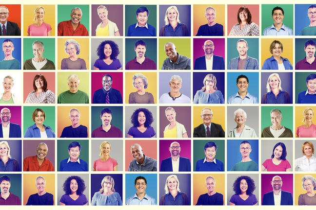 A colourful image of 30 people of different ages and races.