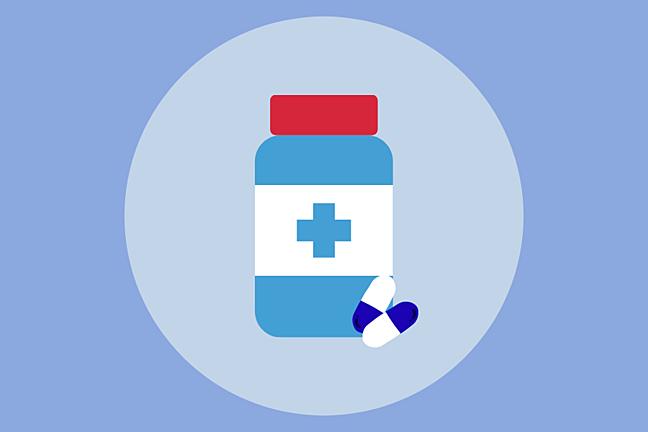 cartoon image of bottle and pills (antibiotics)