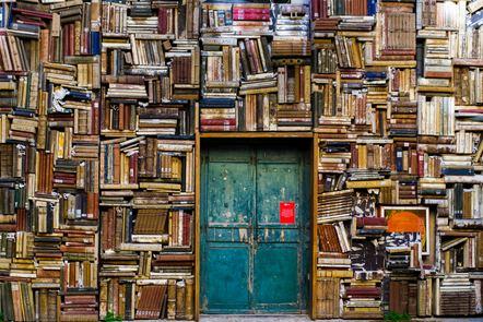 Books around a door