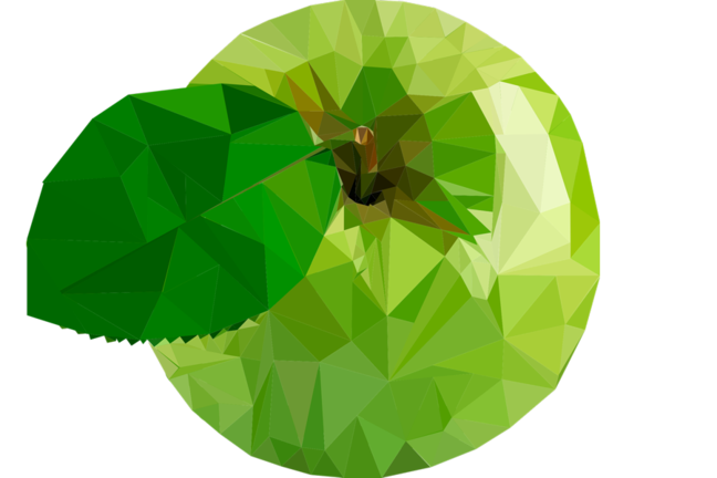 A green apple rendered in vector graphics