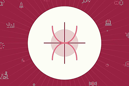 Red background circle