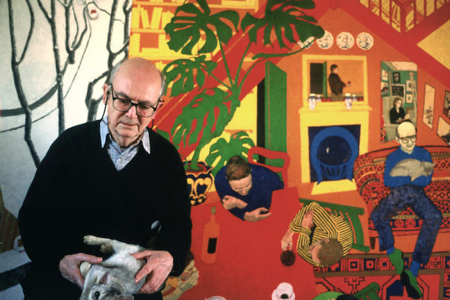 Photograph of William Utermohlen, holding a cat, in front of one of his large painting entitled 'Snow' (1990-91)
