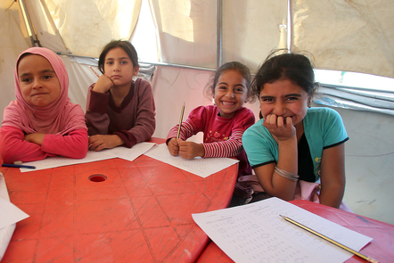 Young girls in a temporary classroom