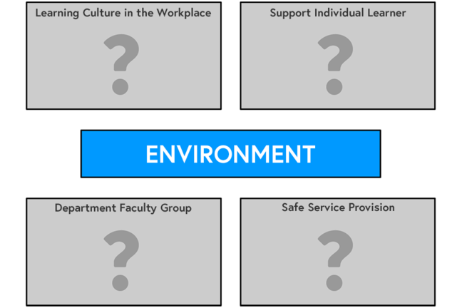 Graphic of Factors Influencing the Workplace Learning Environment (NACT UK, 2013)