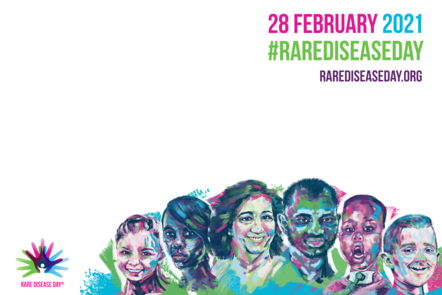 A poster of the rare disease day 2021 campaign showcasing 6 people from diverse age and origin with the date of the rare disease day and the official logo.