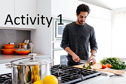 Man preparing vegetables in modern kitchen with words: Activity 1