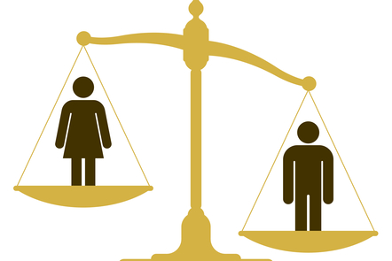 Illustration of man and woman on uneven scales