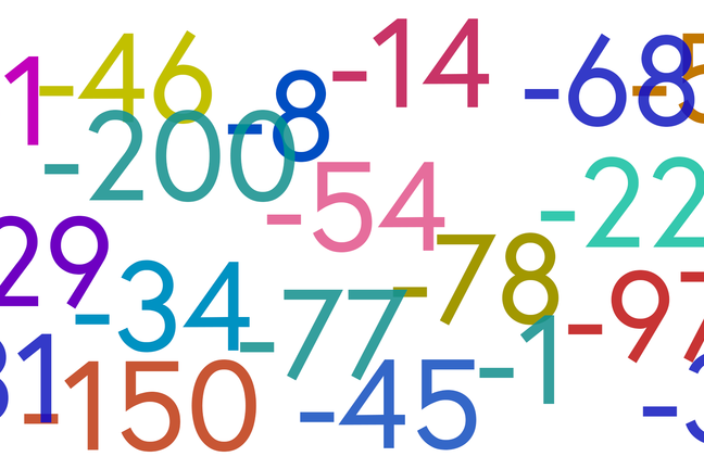 Multi-coloured negative numbers